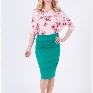 Agnes and Dora Pencil Skirt Kelly Green
